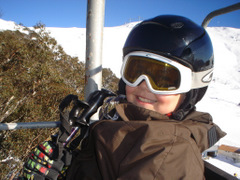 big smile, riding the chairlift on a perfect morning